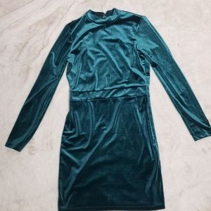 Emerald open back velvet dress